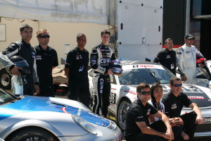 Michael Lewis and the Competition Motorsports team wait in the paddock before heading onto the track at Sebring International Raceway.