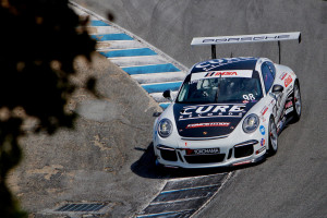 "Michael Lewis attacks the famed ""corkscrew"" at Mazda Raceway Laguna Seca in the No. 98 Competition Motorsports/Curb-Agajanian Porsche 911 GT3 Cup car. Photo by Blake Blakely."