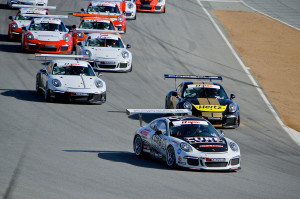 Leading every lap, Michael Lewis won both IMSA GT3 Cup Challenge USA by Yokohama races on Sunday, May 4, at Mazda Raceway Laguna Seca. Photo by Blake Blakely.