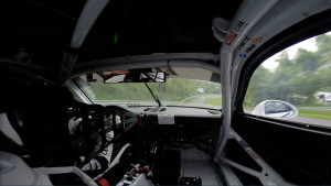 View of Connecticut's Lime Rock Park on the GoPro camera inside Michael's No. 98 Competition Motorsports/Curb-Agajanian Porsche 911.