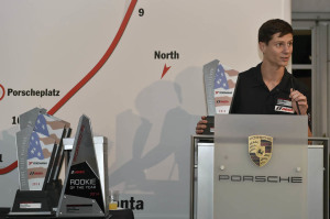 During the IMSA Porsche GT3 Cup Challenge USA by Yokohama banquet on Friday, October 3, Michael Lewis shares his appreciation to his Competition Motorsports/Curb-Agajanian team members as well as his sponsor team.