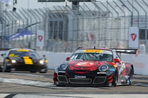 Michael Lewis leads the GTA field of the Pirelli World Challenge in Race 1 of the Grand Prix of St. Petersburg. He finished 12th overall in a field of 43 cars.