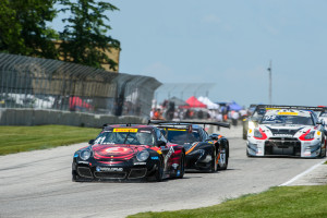 Michael Lewis started Round 12 of the Pirelli World Challenge in 9th position, but moved up through the pack to finish 5th.