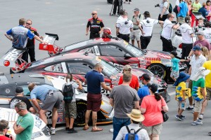 Utah race fans swarmed around the EFFORT Racing Porsche 911 GT3 R race cars for an up-close look.