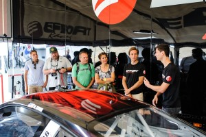 Michael Lewis enjoys describing his No. 41 EFFORT Racing/Curb-Agajanian Porsche 911 GT3 R to race fans who visited the EFFORT Racing paddock at Sonoma Raceway on Saturday, August 29.