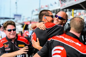 The EFFORT Racing team gave Michael Lewis a fast car for the Grand Prix of St. Petersburg, and their dedication brought results as they celebrate after Michael's first GT win in PWC.