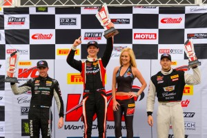 Michael Lewis conquers the podium again after his GT win in the PWC on Sunday, March 13, 2016.