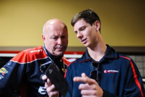 Michael Lewis credits his strong start to the 2016 Pirelli World Challenge season to the EFFORT Racing Team, including Technical Director Stefan Pfeiffer, seen here with Michael.