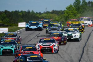 Pirelli World Challenge competitors fight for position at the start of Round 6 at Barber Motorsports Park on Saturday, April 23.