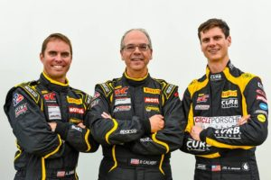 Michael Lewis, on right, continues his 2016 PWC participation with Calvert Dynamics teammates Andrew Davis, far left, and Preston Calvert, center, who is also the team owner.