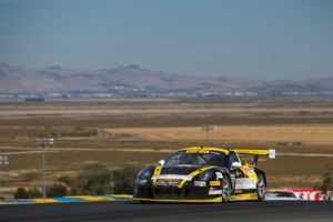 The No. 98 Calvert Dynamics / Curb-Agajanian Porsche 911 GT3 R performed flawlessly for Michael Lewis at Sonoma Raceway, on September 17 and 18. Photo by Brian Cleary.