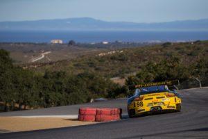 "Michael Lewis drives the No. 98 Calvert Dynamics / Curb-Agajanian Porsche 911 GT3 into the world-famous ""corkscrew"" at Mazda Raceway Laguna Seca, on Sunday, October 9."